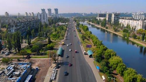 Top View Flying Over Kiev
