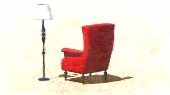Thumbnail for Red Antique Sofa and Floor Lamp Stop Motion