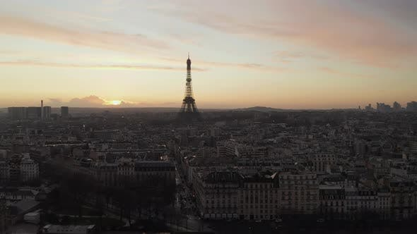 Thumbnail for AERIAL: Over Paris, France Wet, Reflections From Rain with View on Eiffel Tower, Tour Eiffel in