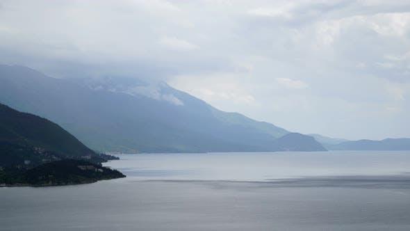 Rainy day, rain cloud passing over Lake Ohrid, Macedonia