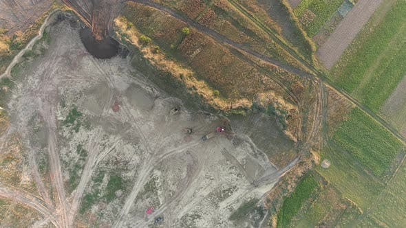 Thumbnail for Aerial of a construction site in a quarry