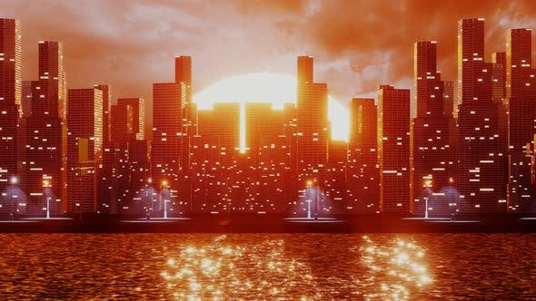 Thumbnail for Futuristic City with Skyscrapers Near the Water