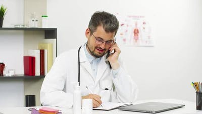 Medical Consultation on Phone with Handsome Professor