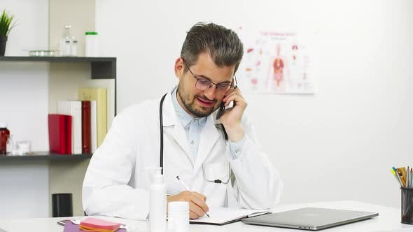 Thumbnail for Medical Consultation on Phone with Handsome Professor