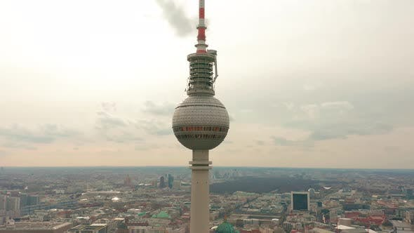 Berlin TV Tower Super Closeup During a Cloudy Day, Aerial View