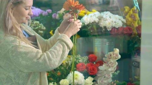 Woman Florist Takes Gerberas Roses To Arrange Bouquet