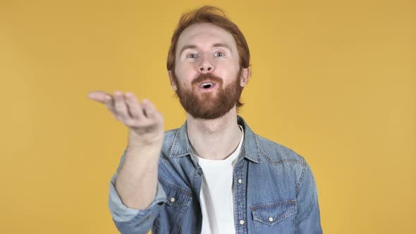 Thumbnail for Flying Kiss By Redhead Man, Yellow Background