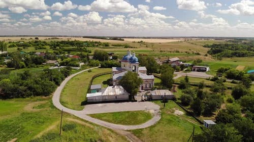 Summer Rural Landscape with Orthodox Temple in Russia