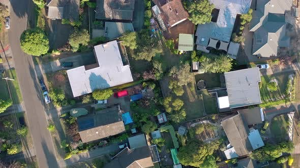 Houses in Suburban Australia Aerial View of Typical Streets and Neighbourhood
