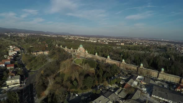 Cover Image for Aerial view of the Mirogoj Cemetery in Zagreb