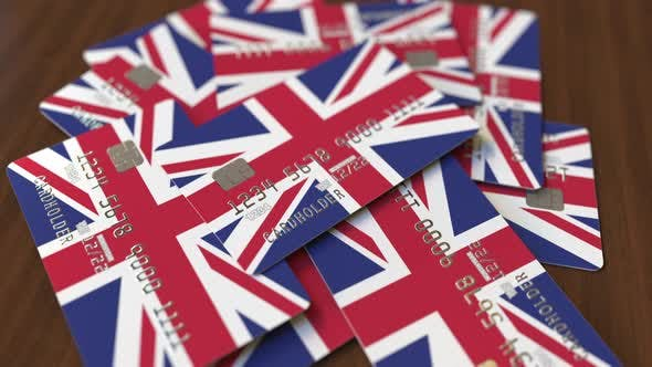 Thumbnail for Pile of Credit Cards with Flag of the United Kingdom