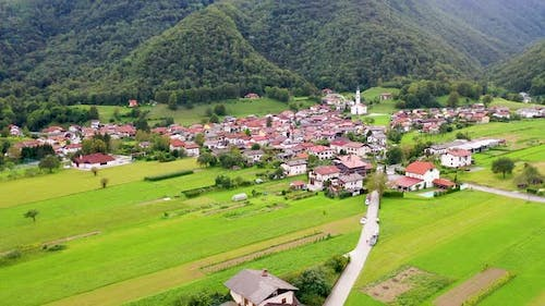 a small Town Near Foothills, surrounded with mountains