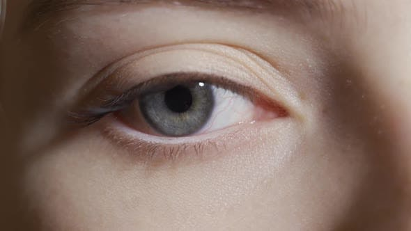 Thumbnail for Close-up of Beautiful Gray Female Eyes. The Girl Opens Her Eyes