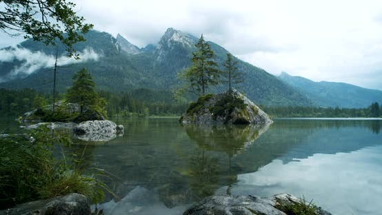 Thumbnail for Hintersee Lake with Some Foliage in Foreground. Berchtesgaden, Bavaria, Germany, Europe