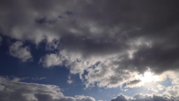 Time lapse: stormy clouds cover the sun and commit brief snowing.