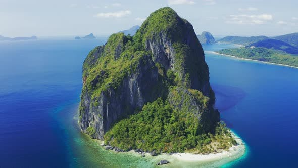 Thumbnail for Amazing Nature Landscape Rocky Pinagbuyutan Island and Blue Sea of El Nido, Palawan, Philippines