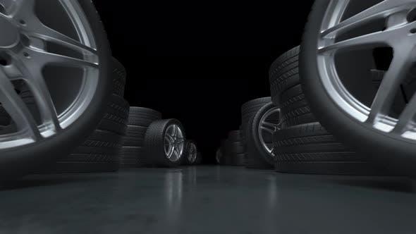 Loop Flying Down the Corridor of Car Tires