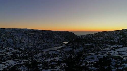 Drone Shot Snow Mountain River