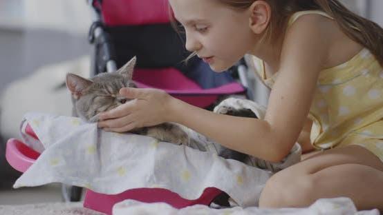 Thumbnail for Girl Nursing Cat