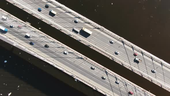 Thumbnail for Static View From Above a Cable-stayed Bridge, Aerial Shooting Over Traffic From Cars