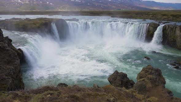 Thumbnail for Godafoss Waterfall in Summer Day. Iceland