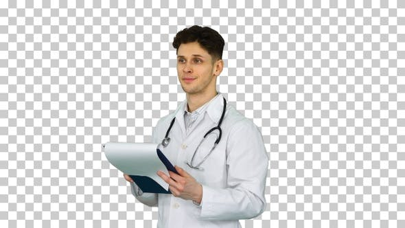 Thumbnail for Great results Doctor dancing afler looking through documents