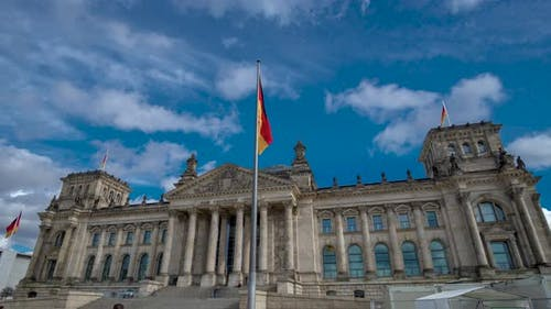 Golden Hour Hyperlapse Time Lapse of Reichstag Building Berlin Germany