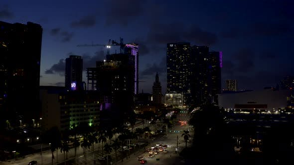 Thumbnail for Aerial Video Darkness Over Downtown Miami Fl Usa