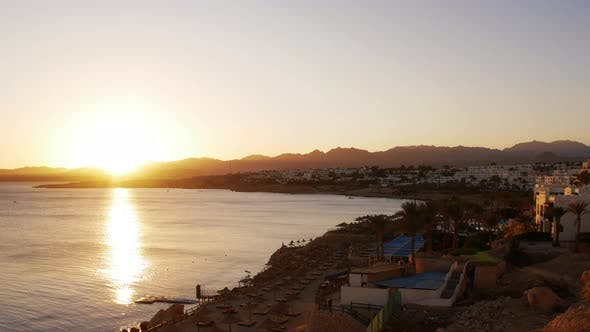Thumbnail for Timelapse of Romantic Sunset at the Sea Bay, Sharm El Sheikh, Egyptian Resort, Hotel Complex. Sun