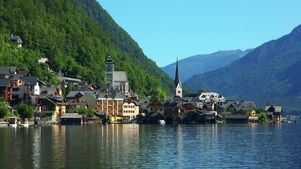 Thumbnail for Village Hallstatt with Church Tower in Summer Day with Mountains
