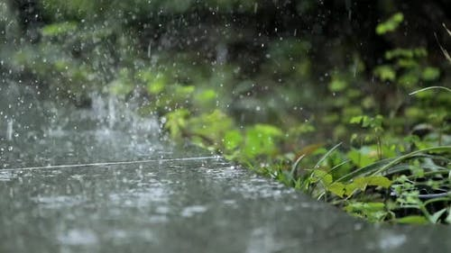 Raining outdoor