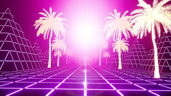 Thumbnail for Pink Retrowave Palms Sunset