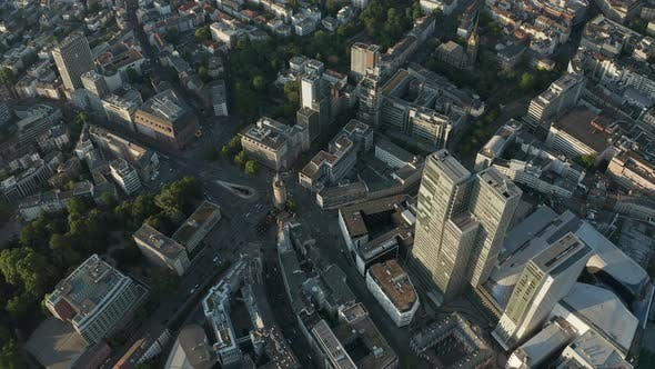 Thumbnail for Overhead View of Frankfurt Am Main, Germany Eschersheimer Tor Famous Place with Empty Streets
