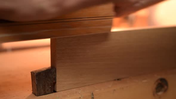 Thumbnail for Close Up of Carpenter Planing Wood