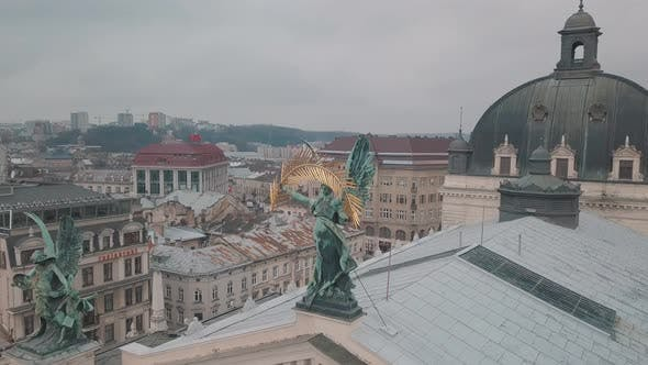 Aerial City Lviv, Ukraine. European City. Popular Areas of the City. Lviv Opera