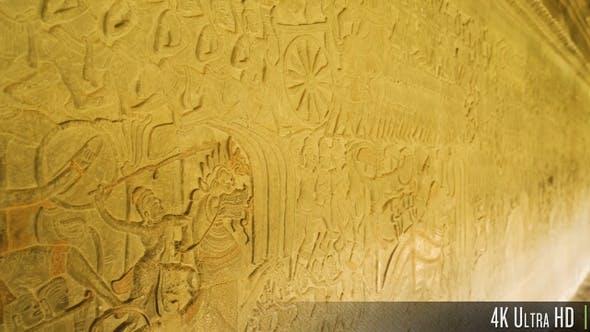 Thumbnail for 4K Wall Bas-Relief Detail Art in Angkor Wat, Siem Reap, Cambodia