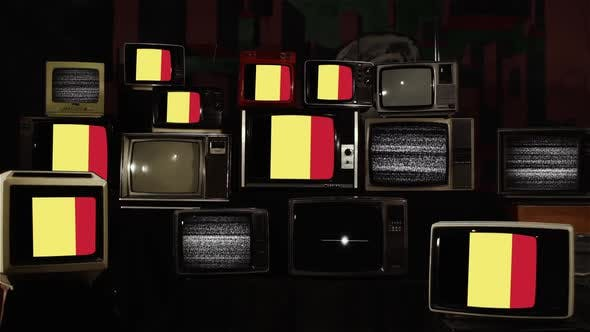 Flags of Belgium on Vintage Televisions.