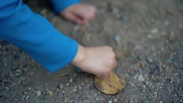 Boy macht ein Bild von den Steinen auf der Straße