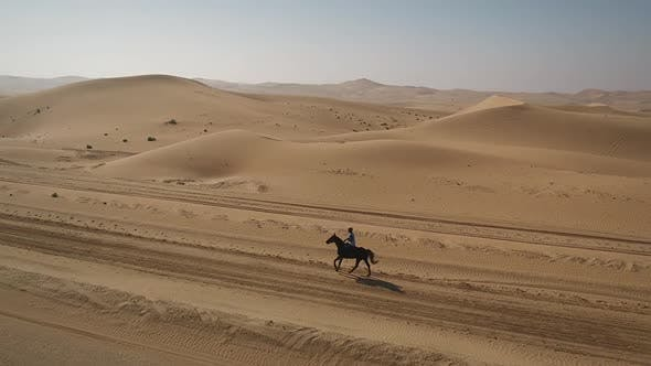 Thumbnail for Aerial view of one person riding horse in the desert of Al Khatim in Abu Dhabi.