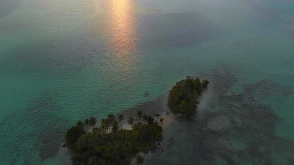 Thumbnail for Aerial: flying over desert island tropical beach caribbean sea, turquoise water