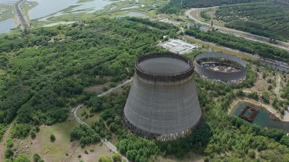 Drone Shot of Towers for Cooling Water, Chernobyl
