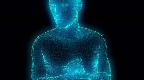 4K Retrofuturistic lowpoly glow man