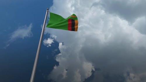 Sambia-Flagge wehend 2K