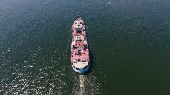 Thumbnail for Aerial Shot of a Big Barge Moving in the Middle of the Dnipro on a Sunny Day