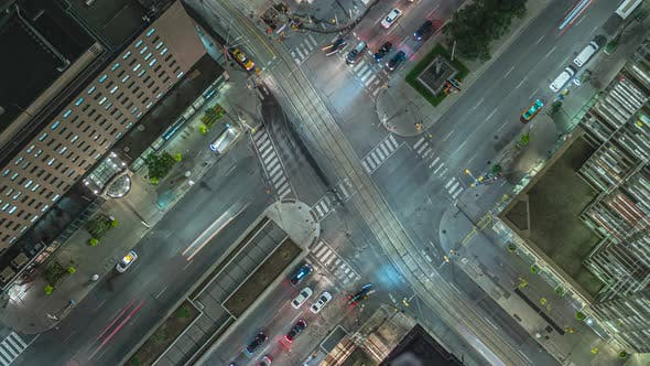 Night Time Lapse Birds Eye View Of Traffic In Downtown 01