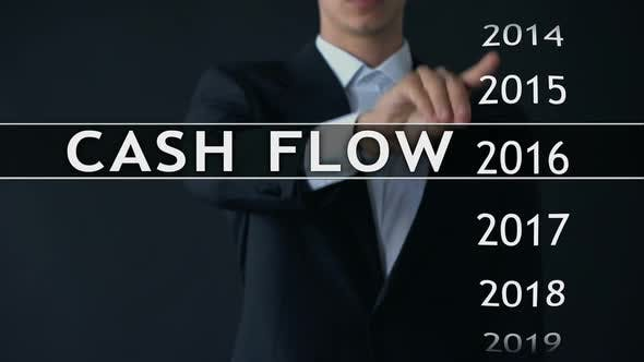 Thumbnail for Cash Flow for 2021, Businessman Selects Financial Report on Virtual Screen
