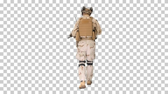 US Army ranger in combat uniform walking, Alpha Channel