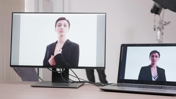 Close Up on Monitors in Professional Photo Studio Set