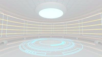 Creative round room, empty presentation room.