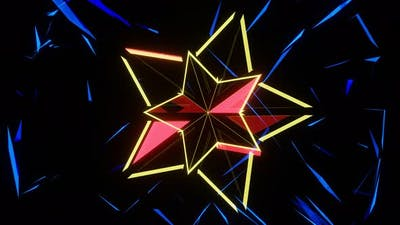 Rotation of a Neon Star Shimmering with Multicolored Lights